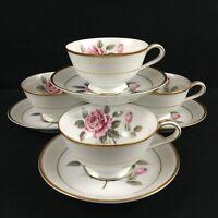 Set of 4 VTG Cups and Saucers Noritake Lindrose Pink Rose Floral 5234 Gold Japan