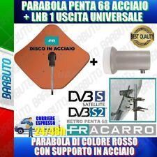 KIT PARABOLA FRACARRO PENTA 68 ROSSA IN ACCIAIO 211106 + LNB 1 USCITA UNIVERSALE