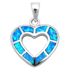 Blue Opal Heart Gift Charm .925 Sterling Silver Pendant Necklace