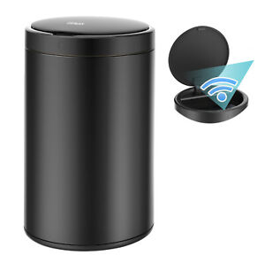 3.2 Gallon Trash Can Stainless Steel Touchless Motion Sensor Soft Close Lid 12L