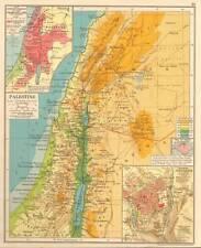 Palestine 1930 Original Antique Map Promised Land Modern Jerusalem