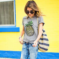 Women Casual Short Sleeve Blouse T-Shirt Summer Holiday Cotton T Shirts Tops Tee