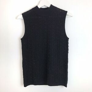 Jaeger NWOT Womens Black Beaded High Neck Sleeveless Wool Jumper Size 8