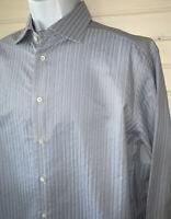 Armani Collezioni Bluish Gray Stripe L/S Spread Collar Dress Shirt 42 16.5 EUC