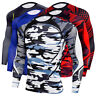 Men's Fitness Compression Tank Top Shirt Round Neck Base Layer Long Sleeve Slim