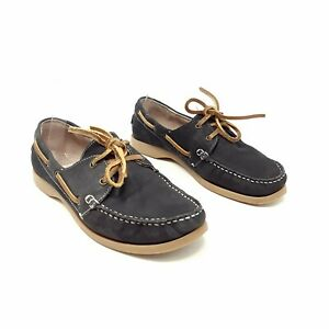 Fat Face Navy Leather Flat Loafers Shoes UK 6 EU 39 Lace Up Boat