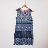 Kachel Size 8 Blue Tile Print Mosaic Geometric Shift Dress