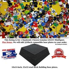 "1 Genuine LEGO Minifigure. Plus Bonus: 10 Black 10"" x 10"" compatible Base Plates"