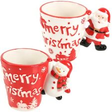2 x Merry Christmas Mugs 3D Festive Home Kitchen Coffee Hot Toddy Chocolate Cup
