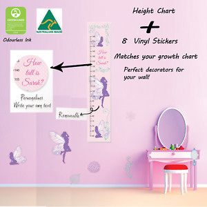 Personalised Fairy Height Growth Chart with 8 Matching Vinyl Wall Stickers