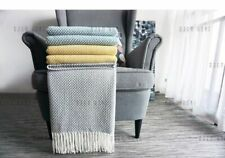 Home Soft Things Knitted Tweed Throw Couch Cover Weighted Tassel Blanket