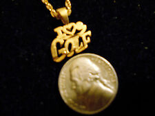 bling gold plated casino game I HEART GOLF PENDANT charm chain hip hop necklace