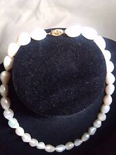"""30-9-10mm,Semi-Baroque,14K yg Clasp Fresh Water Pearl Necklace, 18"""" inches long"""