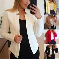 Womens Long Sleeve Jacket Slim Fit Blazer Formal Suit Cardigan Outwear Coat Tops