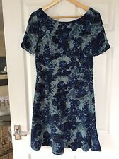 Next~Blue Modern Floral Print~Flippy Hem~Tea Dress~size 12~Brand New