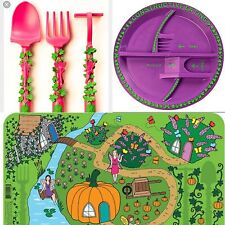 "Constructive Eating ""Fairy Garden"" Plate, Cutlery & placemat Set -Trusted Seller"