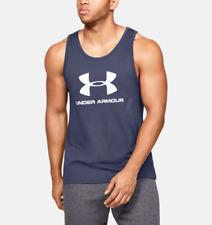 Under Armour UA hombre quien logotipo Chaleco Sin Mangas Camiseta-Azul-Nuevo
