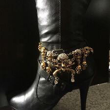 Gold Boot Rhinestone Jewelry Skulls Chain
