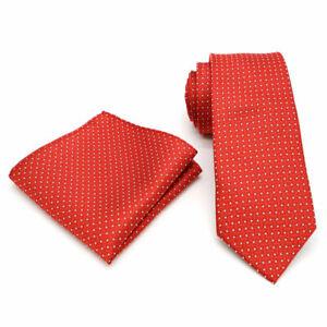 Tie Pocket Square Red White Spot Set 100% Silk Wedding Necktie Hanky