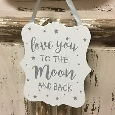 White & Silver Love You to the Moon and Back Sign Nursery Stars Gisela Graham
