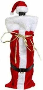 Christmas SANTA SUIT WINE BOTTLE COVER HAT CAP Holiday Decorations Gift Bag Wrap