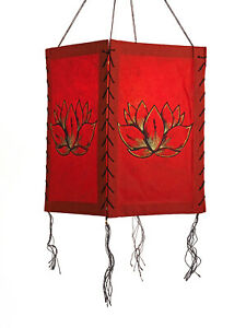 Lampenschirm Lotus Blüte, rot, LOKTA Papier, Papierleuchte Papierlampe Lampion H