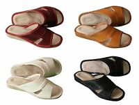 Women's Leather Slip On Slides Scuffs Beach Mules Flats US Size 6 - 10 Slippers