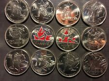 Commemorative 2010 Vancouver Olympic Canadian Quarter Lot - 12 Coins