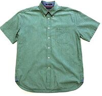 Tommy Hilfiger Men's Size L Blue Green Button Down Shirt Pigment Dyed Checkered