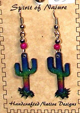 Western Cactus Earrings Multi-colored Enameled Lightweight New FREE SHIPPING #C3