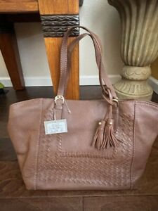 Isabella Fiore Reno Large Tote Italian Leather Brandy New NWT MSRP $425