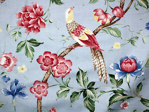 Chinoiseries Pagoda Robin damaged fabric for design c 1860 Small Scale