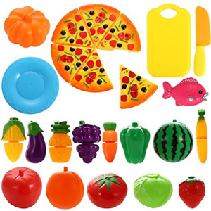 NIWWIN 24 PCS Play Food Set for Kids Plastic Cutting Pizza Fruits and Vegetables