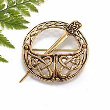 Solid Bronze Irish Tara Brooch Gold Pin Celtic Knotwork Ireland Tradition