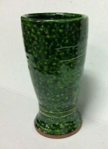 "1 Pottery Barn Hunter Collection Handmade Ceramic Green 8"" flower vase pot"