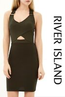 New ex River Island Natural Khaki Cut Out Bodycon Dress Sizes 6 8 10 (RRP £38)