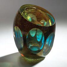 "6"" R Jewel Vase Molten Blue Handmade artisan modern Decor Thick Blown Glass"