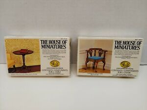 The House Of Miniatures Chippendale Corner Chair/ Queen Anne Tilt-Top Table New