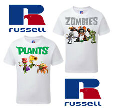 Boys Plants VS Zombies T-shirt - Double Pack Russell Kids Lightweight T-Shirts