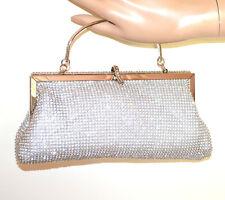 BOLSO CLUTCH bag mujer PLATA cristales glitter strass elegante ceremonia sac G58
