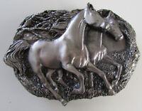 Vintage 1983 Brass Works Pair Horses Running Cowboy Cowgirl Belt Buckle