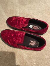 Vans Red Burgundy Velvet Slip On Skateboard Shoes Womens 7.5 Mens 6 Rockabilly