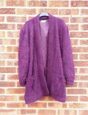 Vtg dark pink fluffy cardigan knitted mohair wool jacket coat oversized L