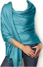 Etole écharpe châle  pancho châle scarf wrap 100 % pashmina 2 plis VERT LAGON