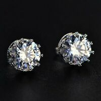 Summer Sale 1.5Ct Round Moissanite Crown Stud Earrings 14K White Gold Over