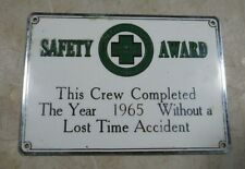 Vintage 1965/66 Indiana Bell Telephone Brass Enamel Safety Award Sign Accidents