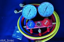 R410A R22 R134a R404A Manifold Gauge+5ft Hose Set Professional HVAC Field Tool