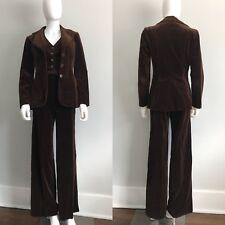 VTG 70's Brown Velvet 3pc Suit Bell Bottom Wide Lapel Crop Vest Bronson Of CA XS