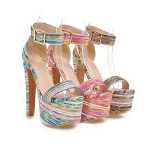 Ladies Party Shoes Platform High Heels Pumps Ankle Strap Sandals US Size s998