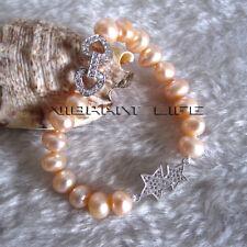 "7.5"" 8-10mm AA Peach Pink Single Row Freshwater Pearl Bracelet Star AC"